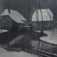 Franz Hecker Mühle im Schnee Angebot